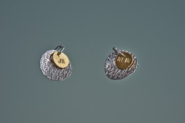 stamped silver and brass earrings