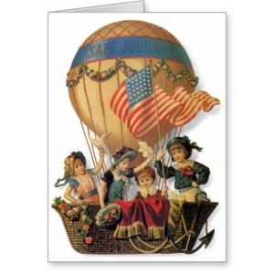 vintage_patriotic_children_in_a_hot_air_balloon_greeting_card - hot air balloons silencio barnes