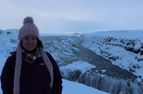 Standing in front of Europe's largest waterfall, the Gullfoss waterfall, in Iceland in January 2015