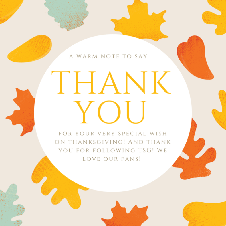 for your very special wishon thanksgiving! And thank you for following TSG! We love our fans!