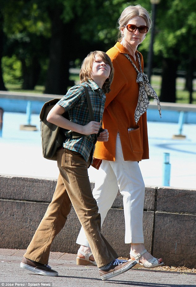 In good company: Julianne was joined on set by her young costar Oakes