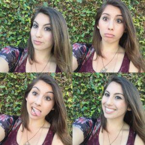 Amanda McDonough making silly faces.