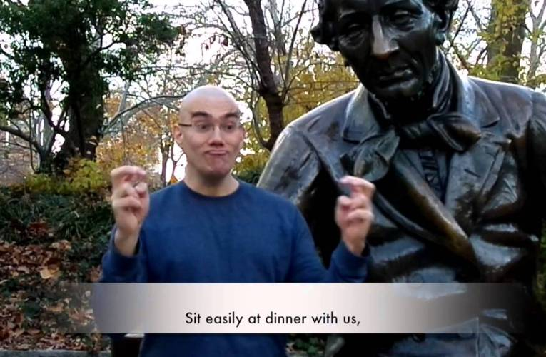"""Sheldon Kranz's """"Pigeons and Men in Tight Blue Suits"""" translated into American Sign Language"""