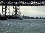 Sailing under the lost screw bridge.