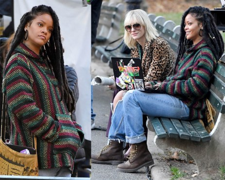 159111, Rihanna and Cate Blanchett sit on a park bench in Central Park during filming of 'Oceans 8' in New York City. New York, New York - Monday, November 7, 2016. Photograph: © , PacificCoastNews. Los Angeles Office (PCN): +1 310.822.0419 UK Office (Photoshot): +44 (0) 20 7421 6000 sales@pacificcoastnews.com FEE MUST BE AGREED PRIOR TO USAGE