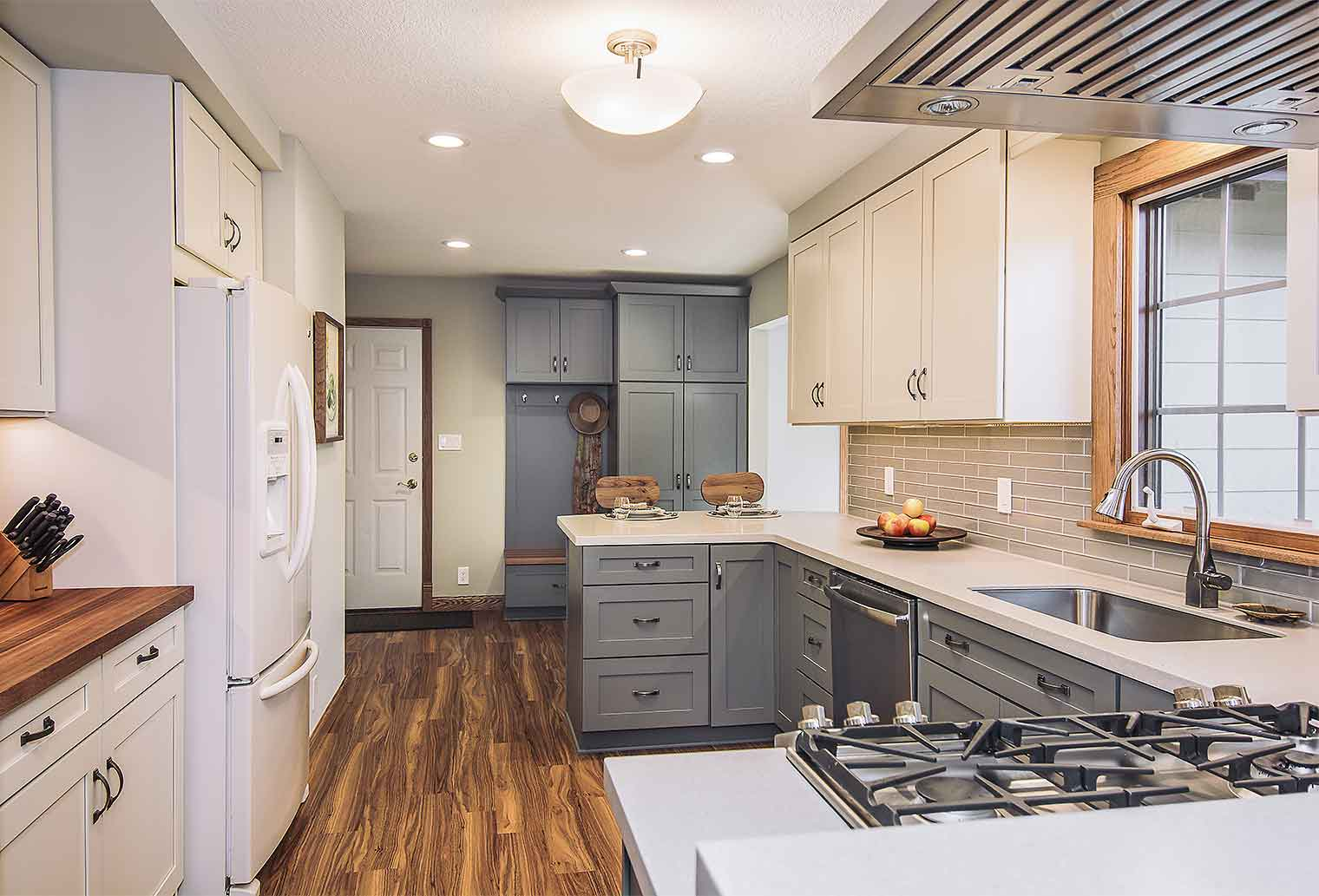 kitchen remodeling projects replacing countertops mid 80s remodel a homeowner s experience silent rivers transitional with gray cabinets and luxury vinyl flooring drop zone by remodeler