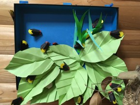 Display of origami fireflies