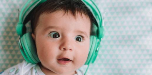 A baby wearing headphones.