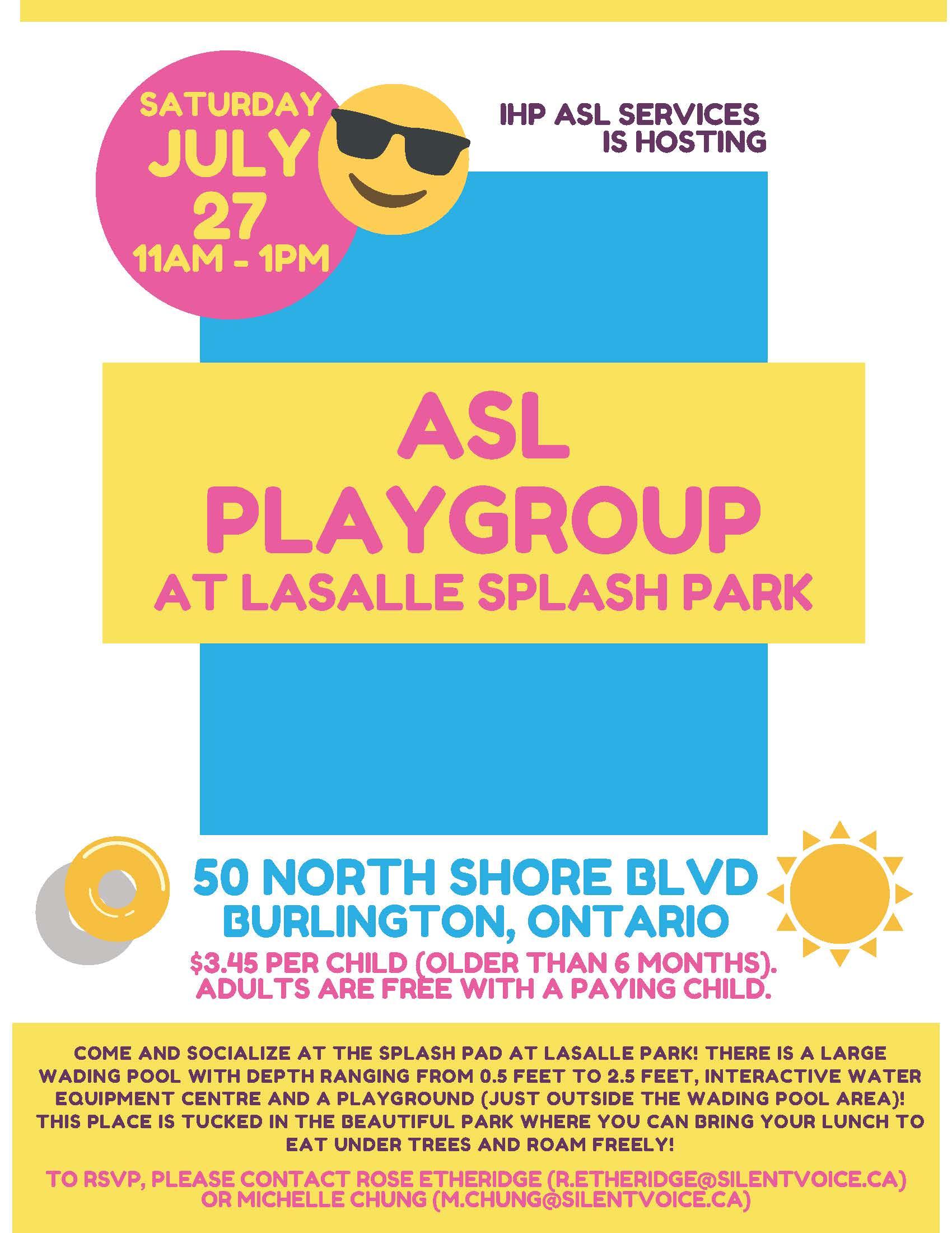 ASL Playgroup at Lasalle Splash Park - flyer