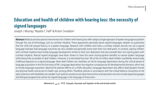 a screenshot of a research paper called Education and health of children with hearing loss: the necessity of signed languages