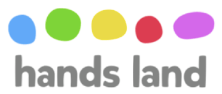 hands land with colourful dots below text
