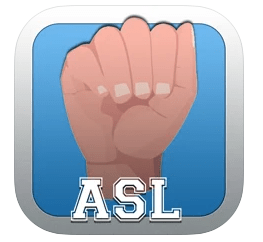 "Blue logo with light-skinned handshape of A just above white text ""ASL"" bordered by grey trim"
