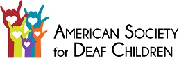 American Society for Deaf Children logo - graphic of multi-coloured I love You hands