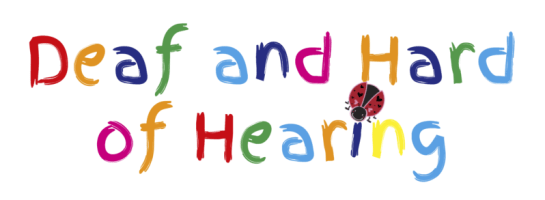 "The words ""Deaf and Hard of Hearing"" in rainbow-coloured text. The ""i"" in ""Hearing"" is dotted with a ladybug."