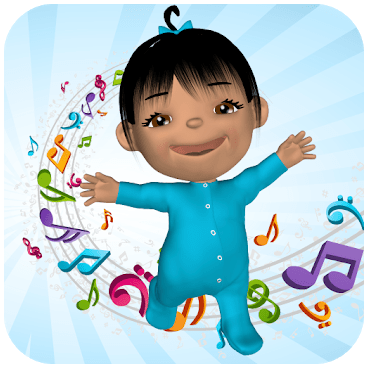 A little girl in a blue onesie smiling, surrounded by rainbow-coloured music notes