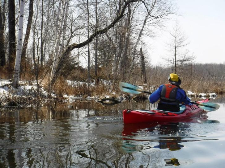 Proper kayak gear on a cool Easter morning paddle trip near Big Cedar Lake, Wi