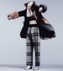 Edun top, Céline pants and shoes, Bally fur coat.