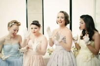 bridesmaids-in-retro-pastel-polka