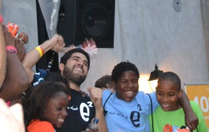 Education Everytime founder Lorenzo Castillo shares excitement with his students after co-winning The Big Idea in 2013.