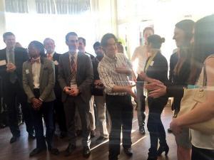 TEA member Thomas Altman congratulating Tympanogen co-founders.