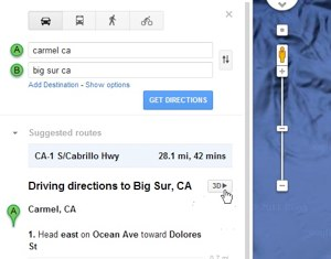 Google earth driving directions in maps