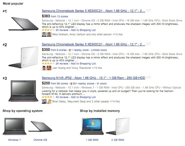 Google shopping comparison