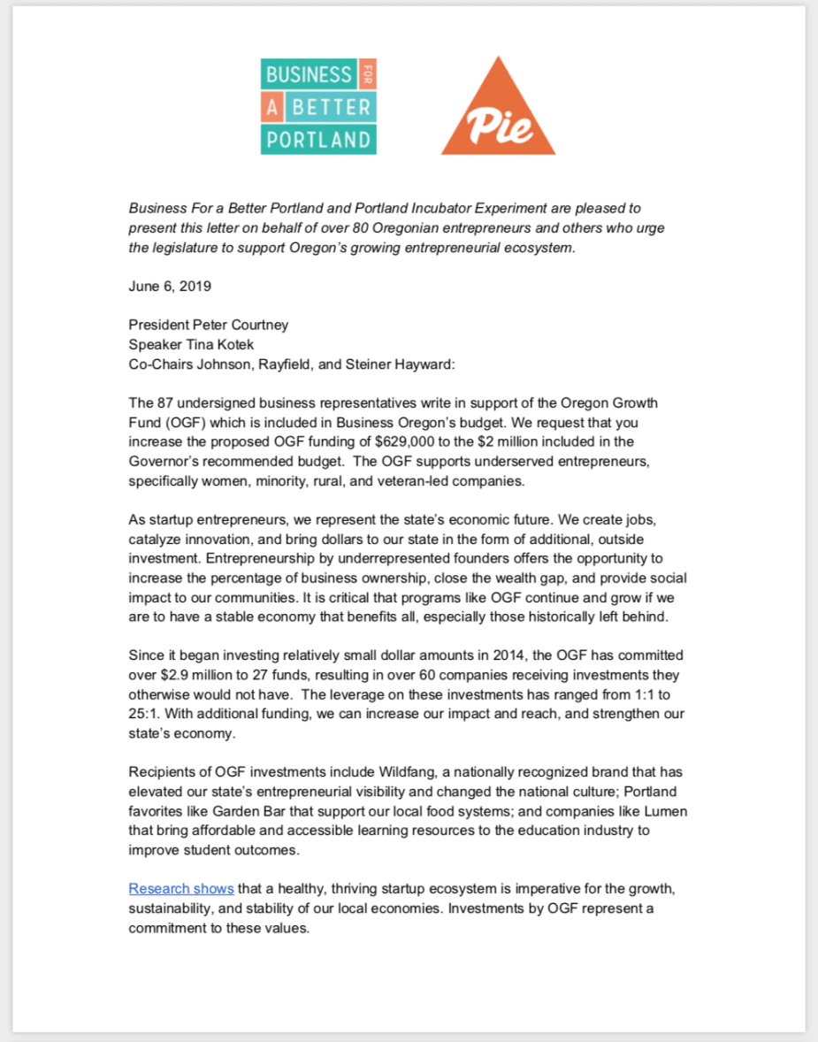 Letter to the State of Oregon