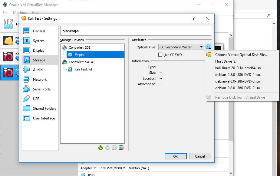 Select Choose Virtual Optical Disk File