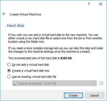 Virtual Box Create Hard Drive