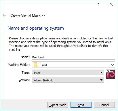 Virtual Box Create Virtual Machine filled out