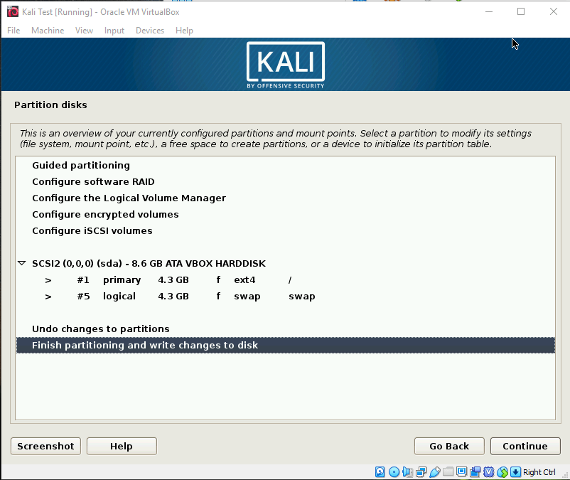 Kali OS Install Partition Review