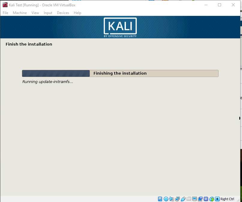 Kali Finishing the installation