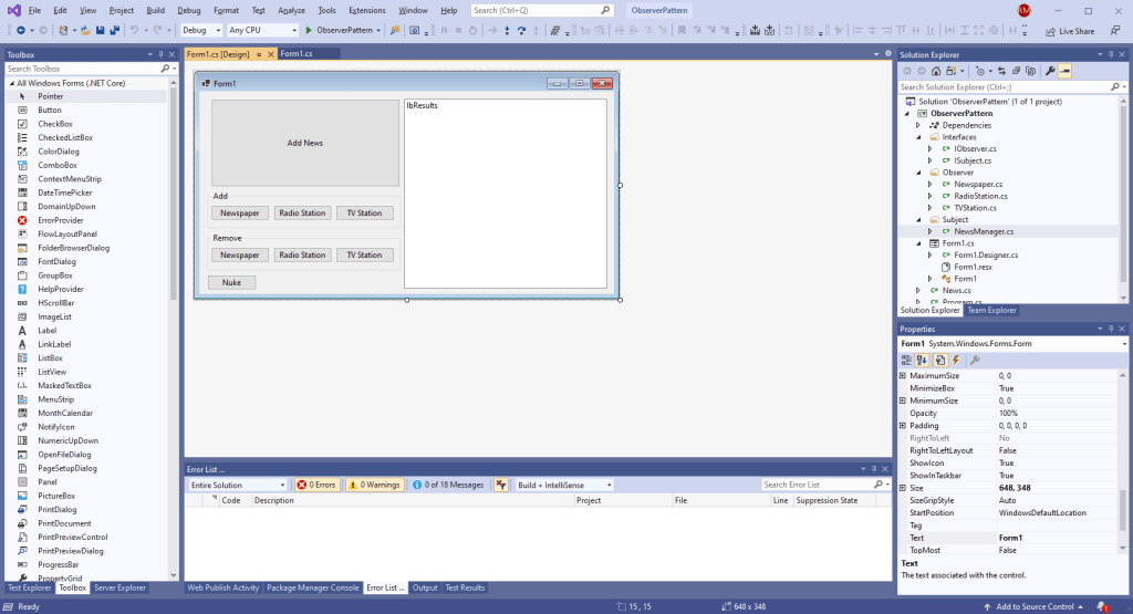Visual Studio 2019 GUI View