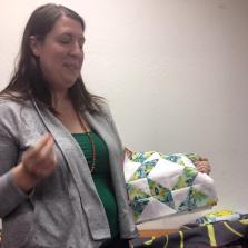 Carrie explains the idea behind her HST quilt blocks. We can't wait to see her assembled pattern soon!