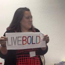 """Sarah states to """"Live Bold"""" with her Mighty Lucky Quilting Club sample."""