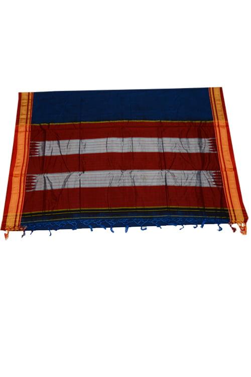 Ilkal Silk by Cotton Plain Chikki Border Saree