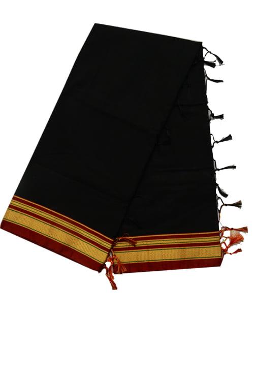 Ilkal Silk by Cotton Plain Chikki Border Black Saree