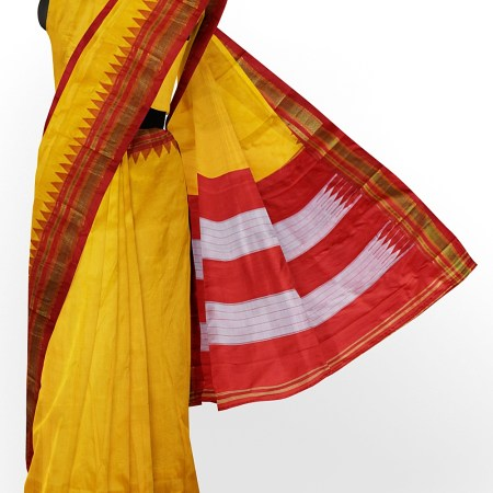 ILKAL HANDLOOM LUXURY DADI TIRKI TEMPLE BORDER SAREE