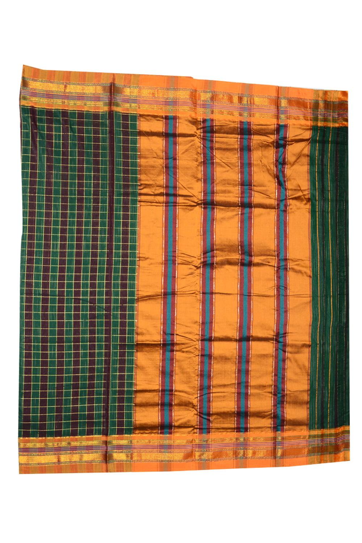 Ilkal Silk by Cotton Big Checks Patti Pallu Sarees