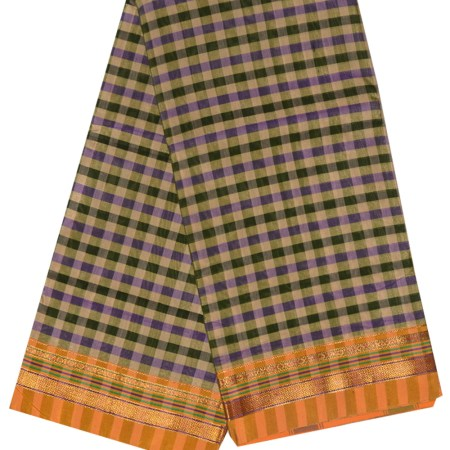 Ilkal Silk by Cotton Small Checks Patti Pallu Sarees