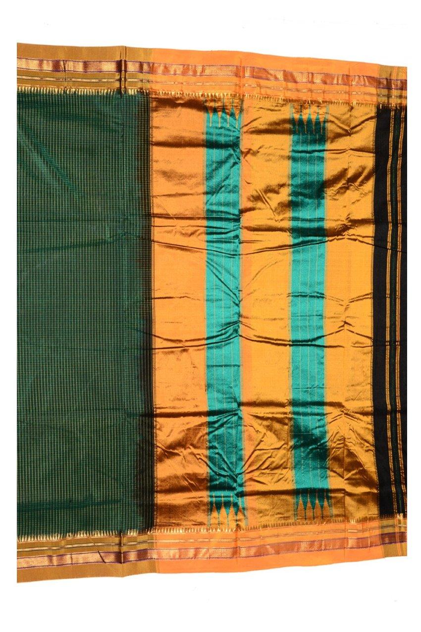Ilkal Silk by Cotton Small Checks Patti Pallu Sarees