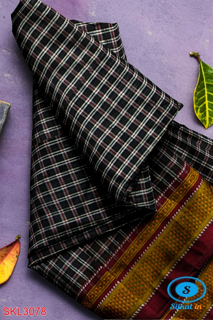 ILKAL HANDLOOM SILK BY COTTON SMALL CHACKS CHIKKI PARAS SAREES