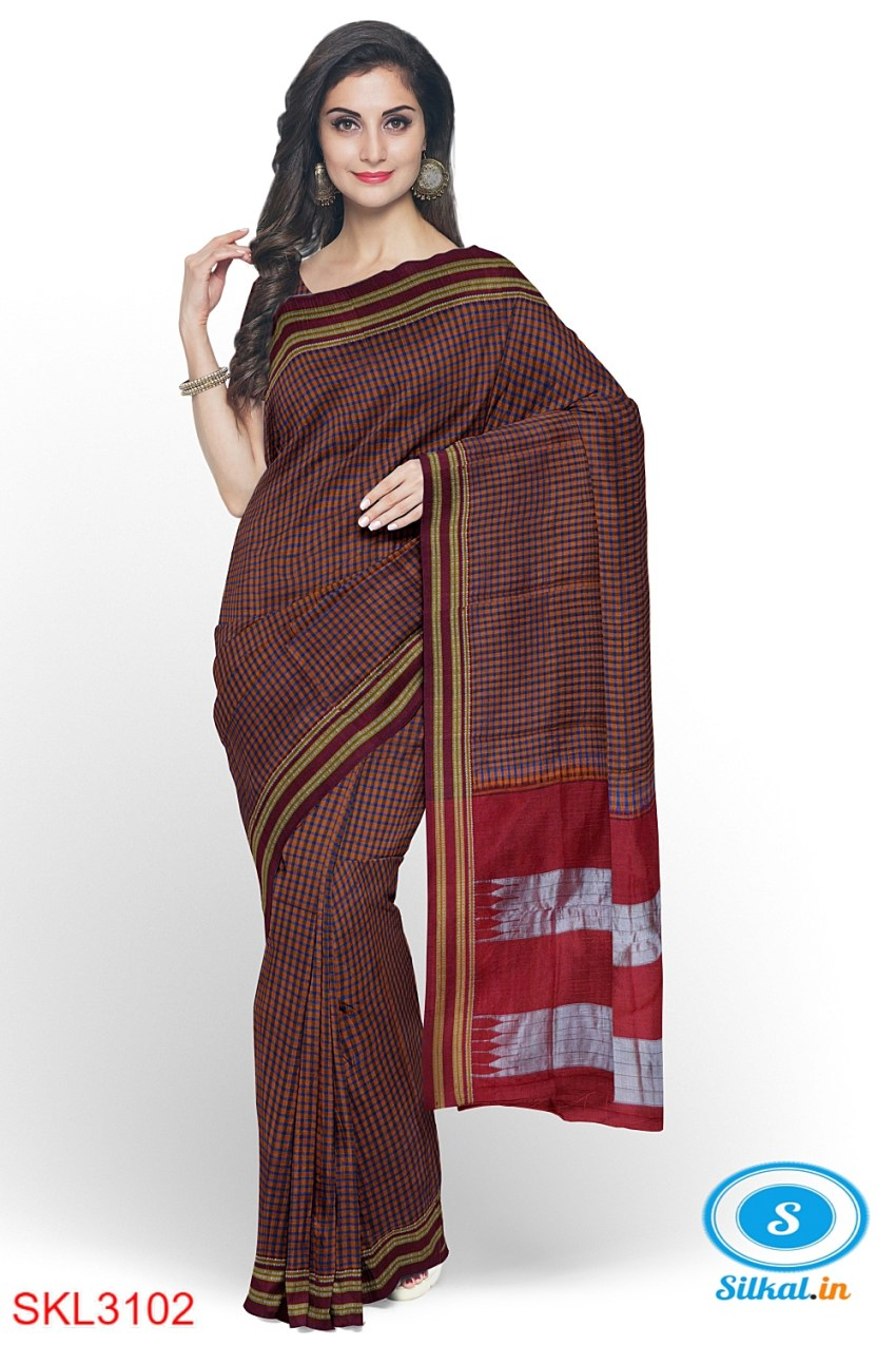 ILKAL HANDLOOM SILK BY COTTON SMALL CHACKS BHOOMI BORDER SAREES