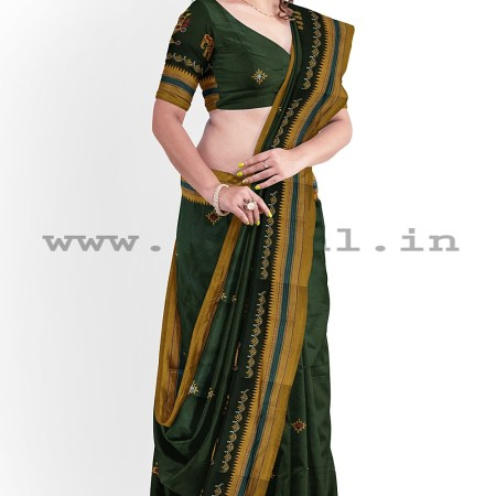ILKAL SILK BY COTTON KASUTI WORK PATTI PALLU SAREE