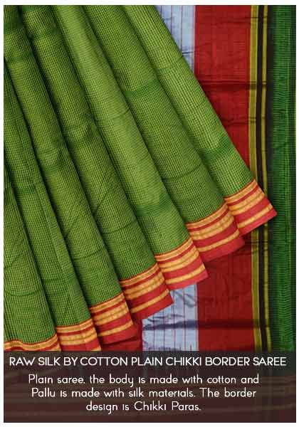 Raw-Silk-by-Cotton-Plain-Chikki-Border-Saree