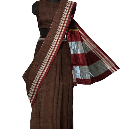 ILKAL RAW SILK KADDI SAREE WITH GOMI BORDER