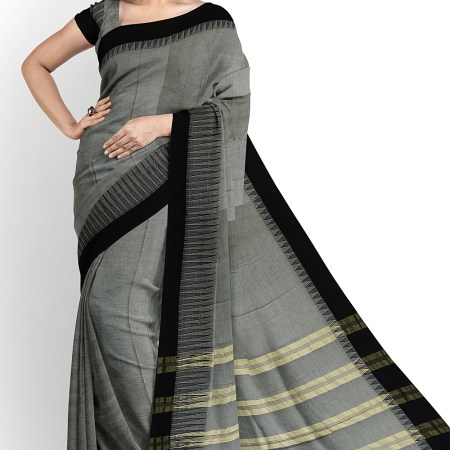NARAYAN PETH PLAIN MASRISE COTTON SAREE WITH PATTI PALLU