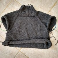 A bit of bright in the greyness - knitting a top down sweater