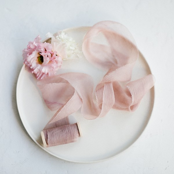 Seidenband OLD ROSE Crinkled Chiffon