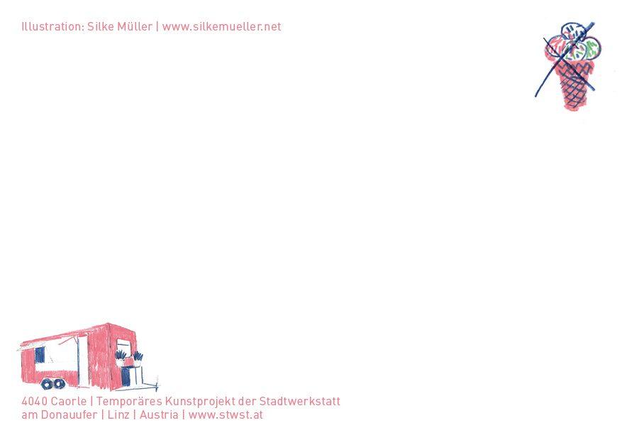 Rückseite Postkarte, Illustration: SIlke Müller, 4040Caorle, Linz